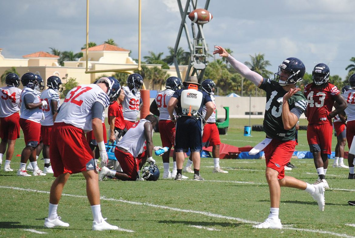 Maybe Too Exciting? <div class='secondary-title'><span style='color:#818181;font-size:14px;'>FAU coach Lane Kiffin didn't like the way the Owls wore down in the first practice of fall camp.</div>