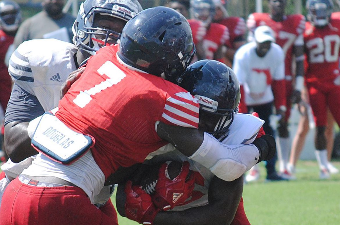 Motor Idles <div class='secondary-title'><span style='color:#818181;font-size:14px;'>Hamstring injury suffered during Saturday's scrimmage sidlelines FAU RB Devin Singletary, further depleting running back unit.</div>