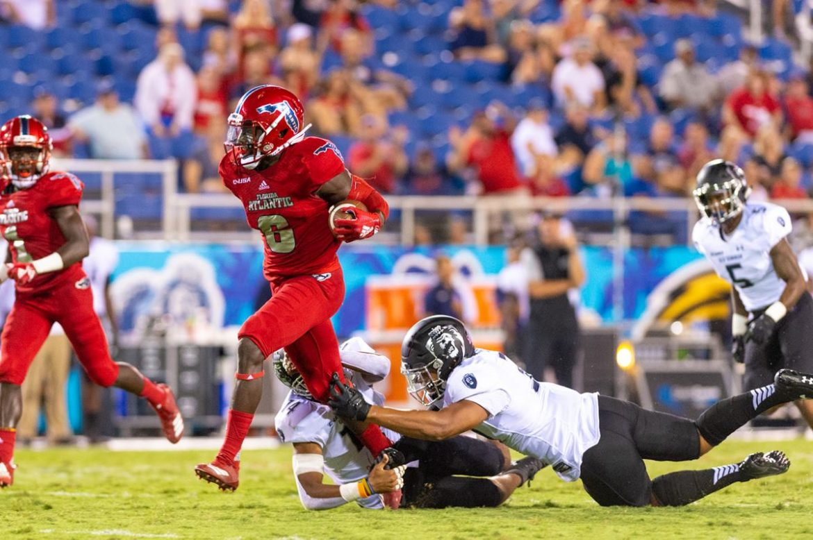 Four Down Territory:<br> FAU 52, ODU 33 <div class='secondary-title'><span style='color:#818181;font-size:14px;'>Harrison Bryant is weaponized, FAU's DBs make gains and Azeez Al-Shaair gets ejected - all part of our Four Down Territory FAU vs ODU game analysis.</div>