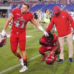 FAU cornerback DaVon Brown laments the loss to Charlotte. (OwlAccess.com photo)